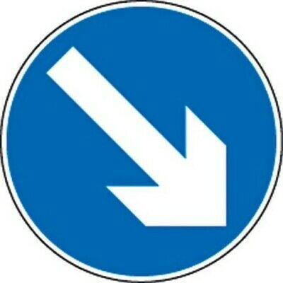 Reversable White Arrow On Blue Circle Background Keep Left/Right Road Sign