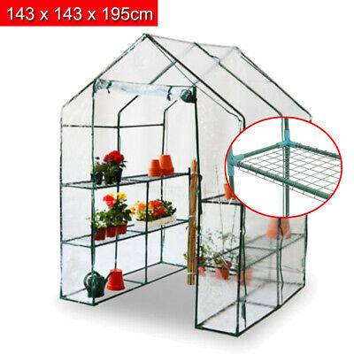 Walk-In Large Greenhouse With Shelves/Pvc Plastic Cover Outdoor Garden House Uk