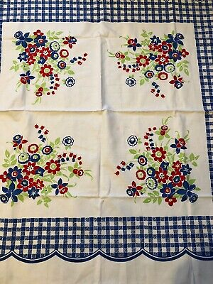 4 Vintage Tablecloth Restoration Re-Purpose Colorful Variety  Lot No Holes