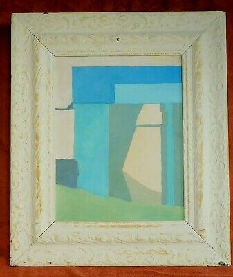 Vintage MId-Century Modern Abstract Painting Chippy Chalky White Picture Frame