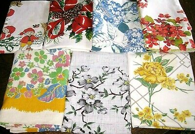 Lot of 7 Vintage Cotton & Linen Floral & Christmas TABLECLOTHS Use or Cutters
