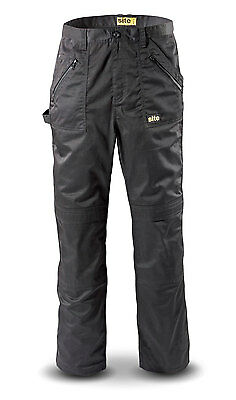New Mens Blue Site Beagle Work Cargo Trousers 40W X 32L Multi Pockets Knee Pad