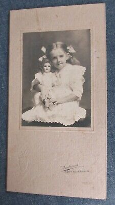 Cabinet Card GIRL with PORCELAIN HEAD DOLL Port Clinton OH Id'd. Marian Yensen,