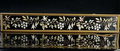 Large Antique Chinese Black Silk Embroidery Textile in Golden Wooden Frame 19thC