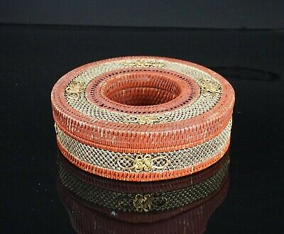 Antique Chinese Red Lacquer Bamboo Robe / Belt Box with Fine Gilding QING 19thC
