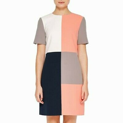 Ted Baker Colour By Numbers Ardell Colour Block Mini Wedding Guest Dress Size 2