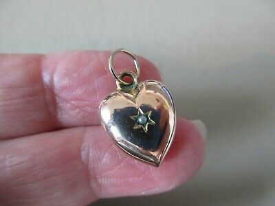 Antique Victorian Edwardian Gold F Seed Pearl Puffy Heart Fob Charm Pendant Old