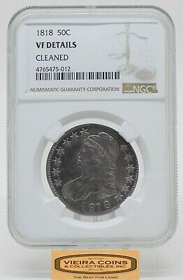1818 Capped Bust Silver 50C Half Dollar, NGC VF Details, Cleaned - #B18062
