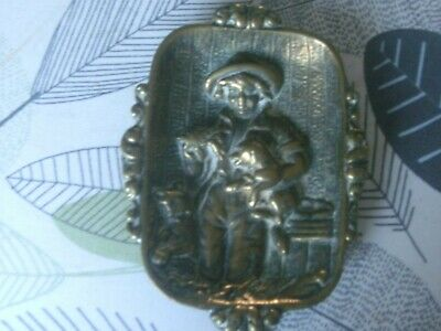 antique solid brass high relief dish with boy holding crayfish with dog and cat