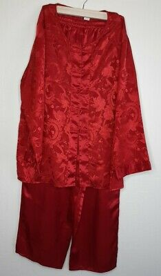 Vtg Victorias Secret Silky Satin 2-PC Red Pajama Set Small Oriental Floral Vibe