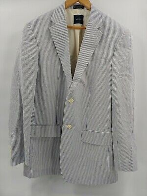 Nautica mens blue seersucker 2-button blazer sports coat jacket size 40 L