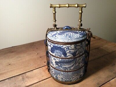 Vintage 3 Tier Chinese Stacking Dishes Bowls * Brass Carrier/Handle * Blue White