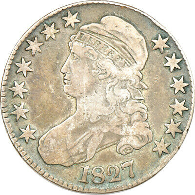 1827 Square Base 2 Capped Bust Half Dollar, Fine, 50c C00048844