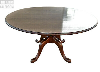 Exceptional Quality Large Vintage English Oak Circular Dining Table, cost £2800
