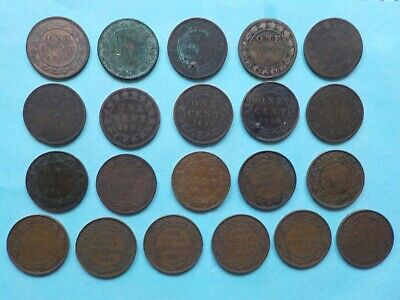 Lot of 21 - Canadian Large Pennies - 1859 1876 1884 1888 1889 1891 1893 1900 &