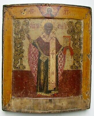 RUSSIAN ICON ST.NICHOLAS of MOZHAISK ANTIQUE 17th century HAND PAINTED RARE