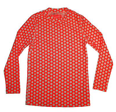 JCrew Crewcuts Girls Rash Guard Staggered Dot C4174 $42 Neon Persimmon Ivory 6-7
