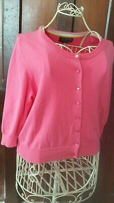 Joules Pretty Bubble Gum Pink Cardigan Cotton Mix Size 16