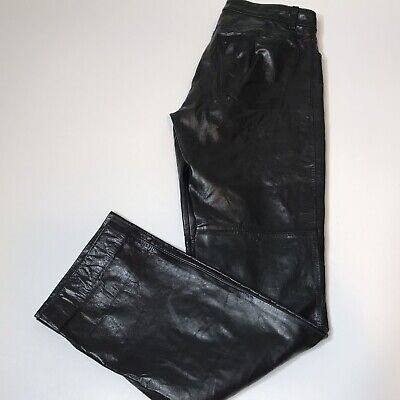 GAP womens SZ 4 Genuine Leather Pants Jeans Black Biker Cocktail Party Bootcut