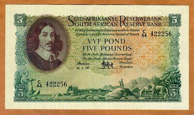 South Africa, 5 Pounds, 19-1-1956, P-97c, XF+ > 65 years old, Sailboat