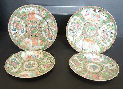Four Small Antique 1850s Chinese Export Rose Medallion Plates