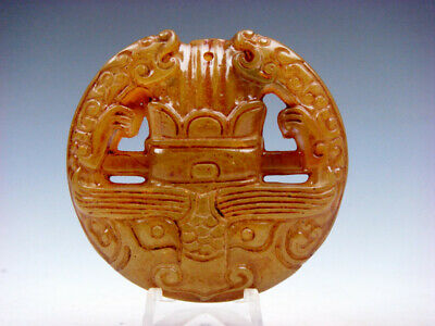 Old Nephrite Jade Carved Pendant 2 Dragons Crown Monster Ox Head #11211907C