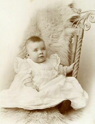ANTIQUE CABINET PHOTO BRIGHT-EYED BABY RATTAN CHAIR ~ ANGEL on WORLD BACKSTAMP