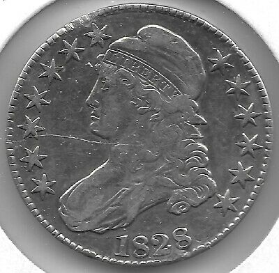 1828 Square Base 2, Small 8'S & Letters Capped Bust Half Dollar