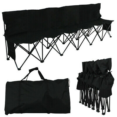6 Seats Portable Folding Bench Sports Game Chairs Outdoor Picnic Camping Seater