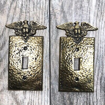 Vtg EMIG Brass Hammered Eagle w Olive Branch & Arrows Light Switch Plate Covers