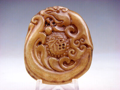 Old Nephrite Jade Hand Carved Pendant *Tiger Blessing FU Character* #10301807
