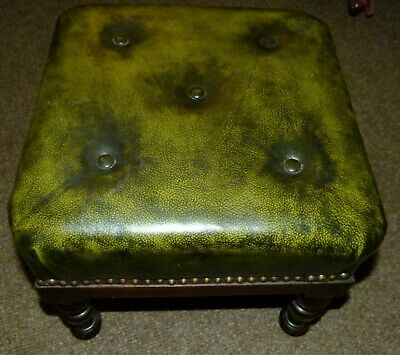 Foot Stool Victorian Green Leather Topped  on Raised Legs 37cm Square vglf