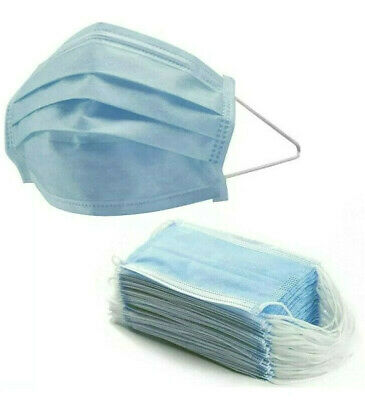 10 Pcs 3 Ply Safe Surgical Mask Ear Loop Face Medical Dental Blue Disposable