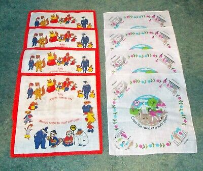 8 Vintage TUFTY Road Safety Childs Hankies 2 Types Mint