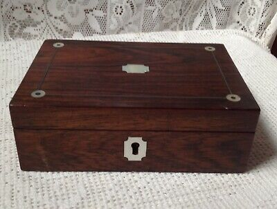 Antique Georgian Rosewood Box, Mother Of Pearl Inlay C1830
