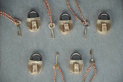 5 Pc Old Brass Handcrafted HLW Fine Quality Small Padlocks
