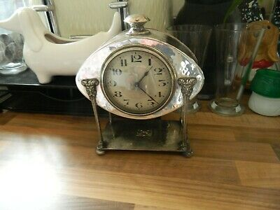 Art Deco Stunning Ornate Plated Four Pillar Mantle Clock For Spares