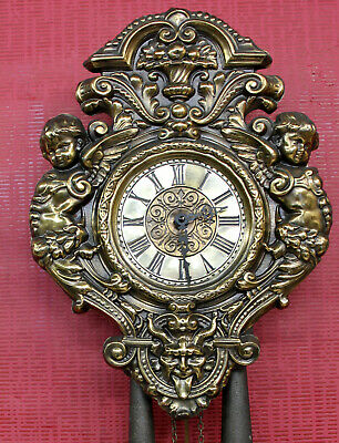 Old Wall Clock Regulator Chime Clock in Brass with with Angels Putti-Cherubs