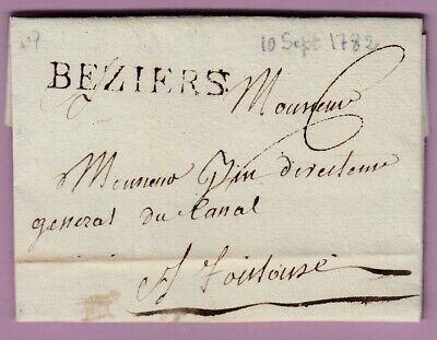 Marque Beziers Herault Ln°7 1782 Toulouse Lettre Cover