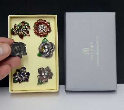 Superb Boxed Set of Victorian Styled Enamelled Metal Drawing Pins by Past Times