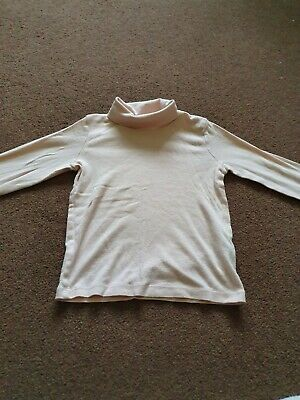 girls pink long sleeved polo neck top age 3-4 yrs  by F&F