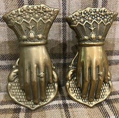 Pair Antique Vintage French Desk Brass Hand Letter/Paper Clip Victorian Ornate