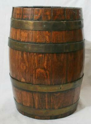 "Antique 19th Century Coopered Oak Barrel with Brass Bands 12"" in Height"