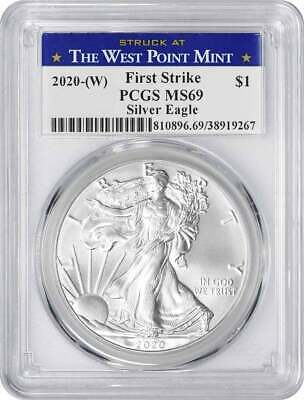 2020-(W) $1 American Silver Eagle MS69 FS PCGS (Struck at West Point Label)