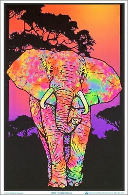 Painted Elephant Black Light  Poster