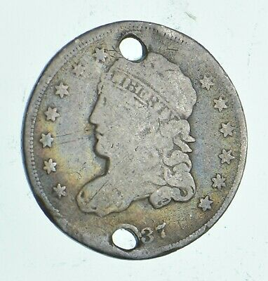 Rare - 1837 Capped Bust Half Dime - Tough to Find - US Early Silver Coin *421