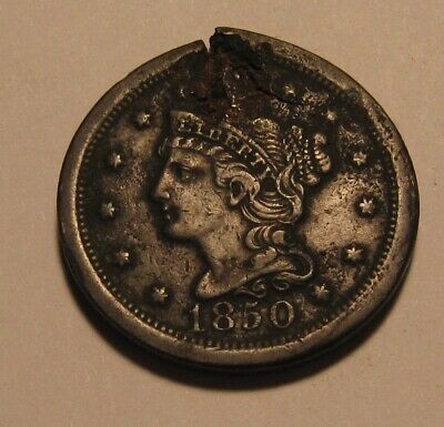 1850 Braided Hair Large Cent Penny - NICE Detail / Damaged - 71FR