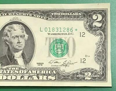 1976 $2 US San Fran ** STAR *** x286 Choice Crisp XF US Paper Money Currency!