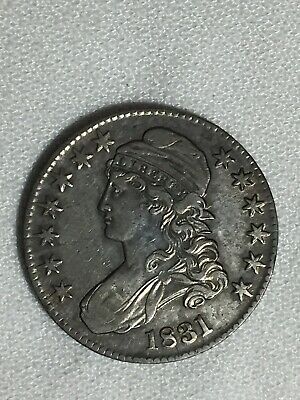 1831 Silver CAPPED BUST Early US Half Dollar 50c
