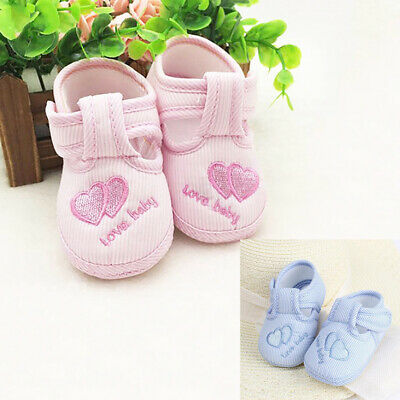 Toddler Infant Love Heart Striped Soft Sole Newborn Baby Walking Shoes Cheerful
